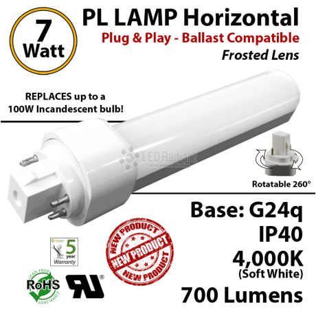 7W PL LED Lamp 700Lm 4000K Frosted Lens G24q IP40 UL Ballast compatible