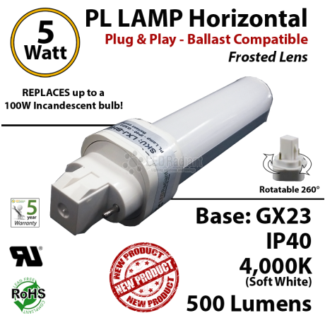 5W PL LED lamp 500 Lumens 4000K Horizontal Ballast compatible GX23 IP40 UL.