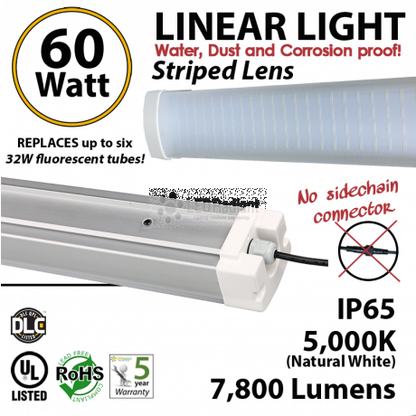 60W LED Vapor Tight PREMIUM 7800Lm 5000K Striped lens 4Ft