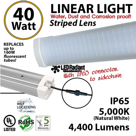 40w LED Linear Lighting Vapor Tight Light Fixture: 4400 Lm 5000K Striped Lens IP65 UL