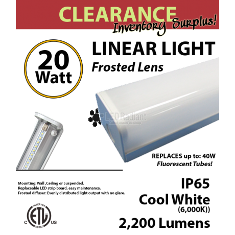 Wraparound Linear LED Light Fixture 20W, 6000K, 2200Lm
