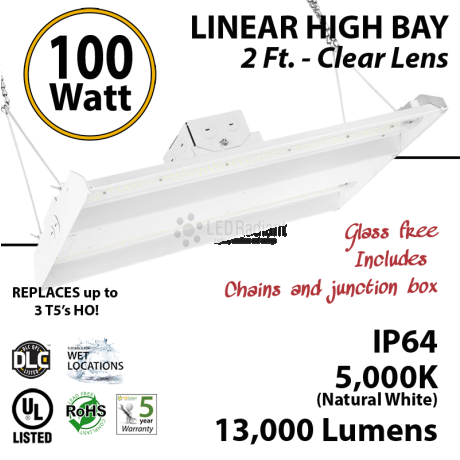 2Ft LED Linear High Bay Fixture 100W 13000 Lumens 5000K UL DLC