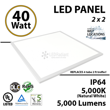 40 Watt LED Dimmable Suspended Ceiling flat panel light 5000K UL listed 2x2 office