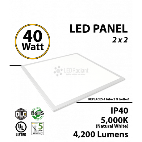 36W LED Panel 2 x 2 4125Lm 5000K IP64 UL DLC