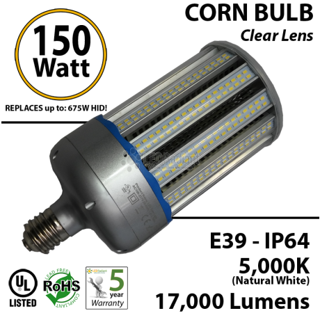 17,000 Lumens 750 Watt Equivalent 150w Corn Light natural white 5,000K