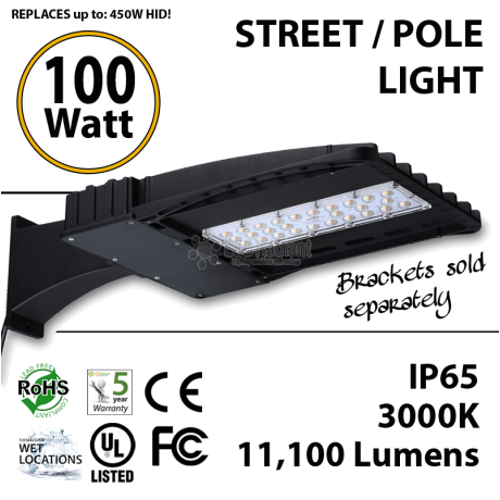 100W LED Street Light / Pole mount fixture 11100 Lm 5000K UL IP65