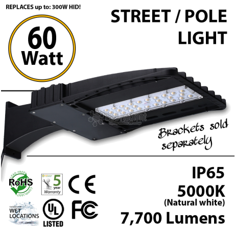 60 Watt LED 300w Halogen Replacement 7700Lm Hid or hps lamps