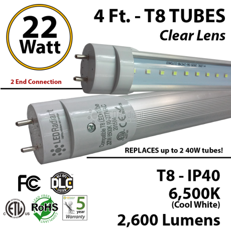 22w 4ft LED T8 Tube Light 2600Lm 6500K Clear, 2 end powered