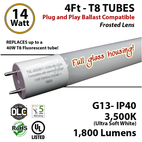 14 W LED T8 Glass Tube Light Frosted Lens 1800 Lumens 3500K Plug And Play UL DLC