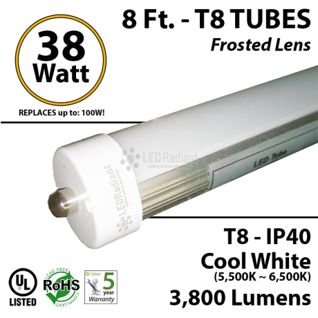 8 Ft 18 Watt Cool White Frosted LED Fluorescent Light Tube Replacement feet foot linear Commercial