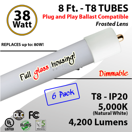 8Ft LED Tubes 38W GLASS Plug&Play T8 4200 Lm 5000K Frosted (6 Pack)