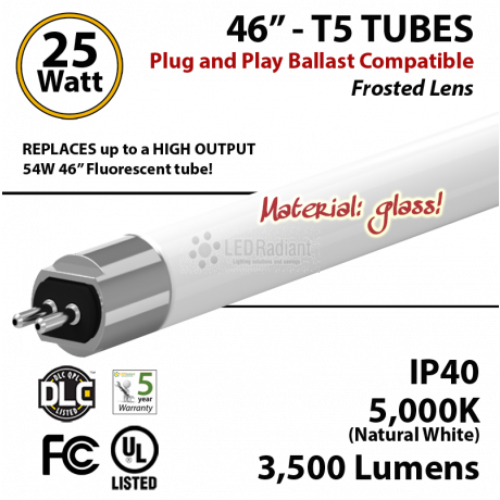 LED T5 Glass Tube Light 25 Watts Frosted Lens 3500 Lumens 5000K Plug And Play