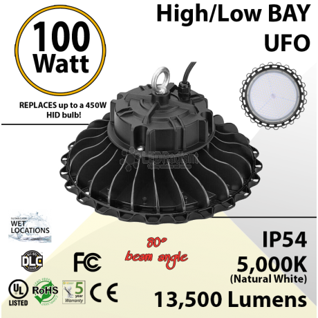 100W LED High Bay Light UFO 13500 Lumens 5000K UL DLC