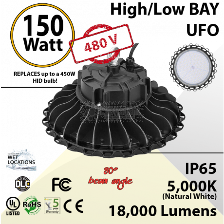 150W 480V LED High Bay Light UFO 18000 Lm 5000K