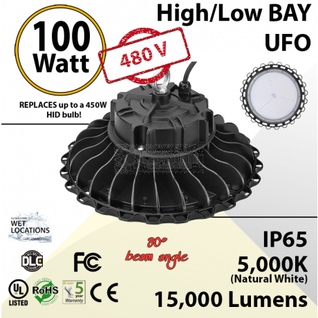 100W 480V LED High Bay Light UFO 15000 Lm 5000K