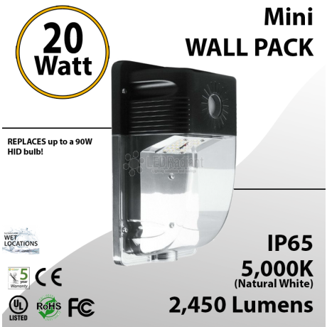 20W LED Mini Wall Pack 2450 Lumens 5000K IP65 UL