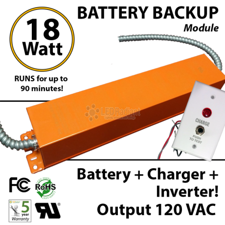 Battery Backup Inverter 18 Watt 100-277VAC 120VAC output sine wave Max. 90 Minutes