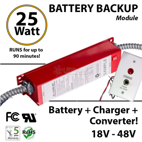 Battery Backup Module 25Watt,  100- 277VAC, 90 Minutes LED tube bulb fixture