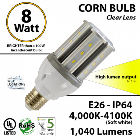 8 Watt LED Bulb 23w CFL Replacement 4,000K 1,040 Lumens