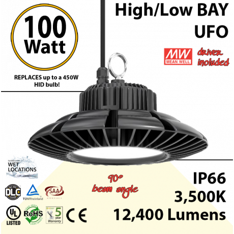 450 Watt Equivalent LED UFO 100w 3500K 12400Lm 110 volts