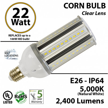 100w HPS LED Light Replacement 22w Corn Bulb Lamp 5000K