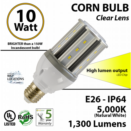 10w LED corn light bulb to replace 150 watt incandescent lamp