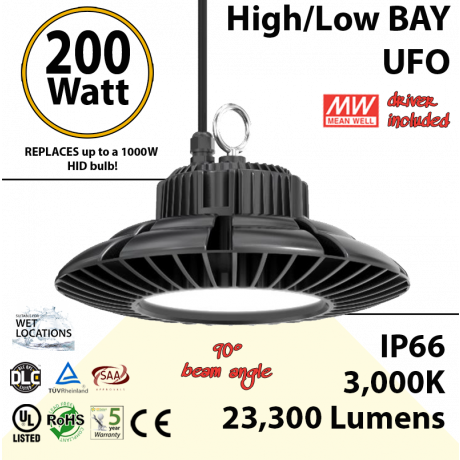 900 Watt hid Replacement for this 200W LED UFO light 3000K 110Volts