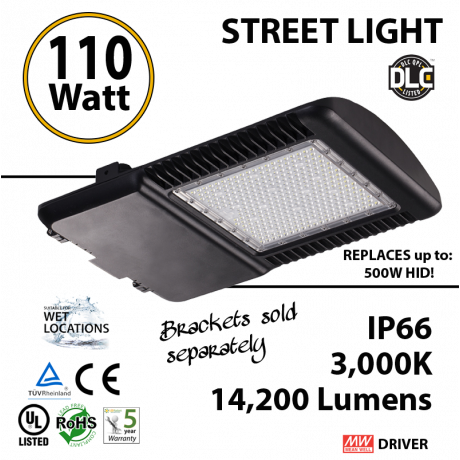 110w LED Street pole lamp Fixture 500 Watt HID Equivalent 120V 3000K