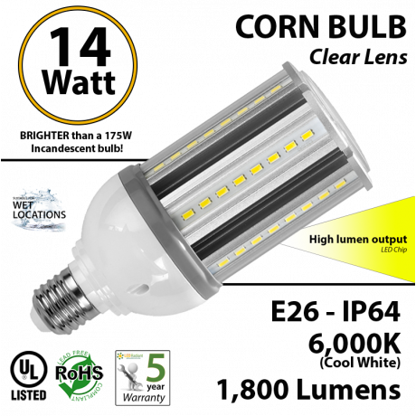 14 Watt LED Corn Light Bulb 1800Lm 150w Equivalent 6000K