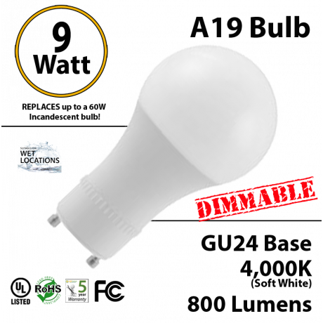 A19 GU24 Base 9W 4000K 800 Lumen Dimmable