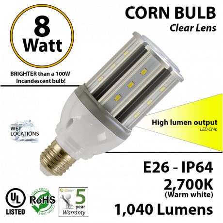 23 Watt CFL LED Light Bulb Equivalent 8w 2,700k 1,040Lm
