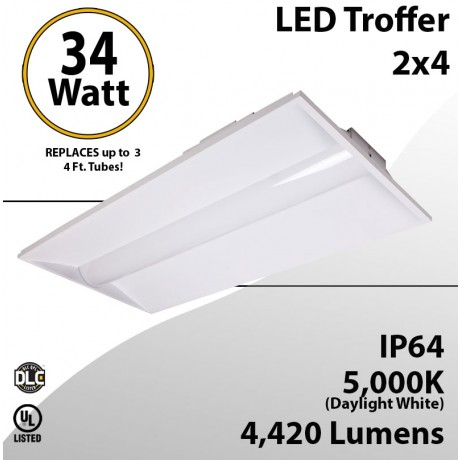 2x4 LED Troffer Light 34W 4420 Lm 5000K Acrylic Frosted lens