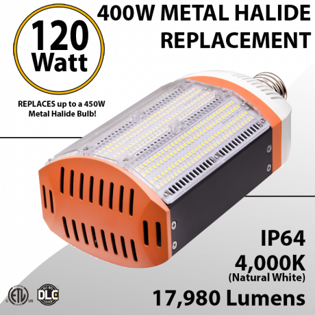 400W Metal Halide Led Replacement 120W 4000K