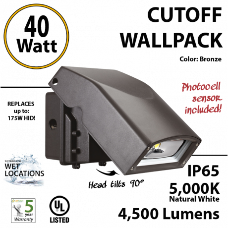 40w Cut-Off LED Wall Pack Lighting Photocell 250 watt HID Mh Eq
