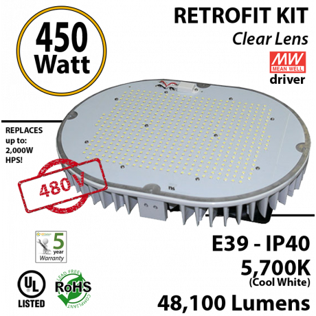 450w LED retrofit kit Fixture 2000 Watt HPS Bulb Replacement 480 volts