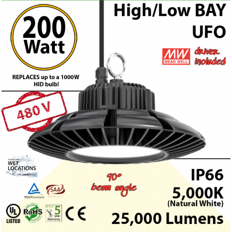 900 Watt hid Replacement for this 200W LED UFO light 5000K 480Volts