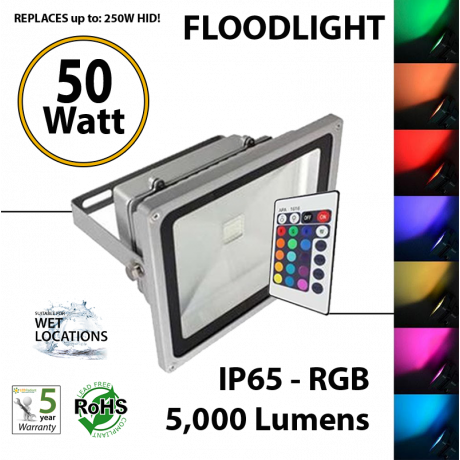 50w rgb LED floodlight Fixture replaces up to 250 Watt HID Equivalent