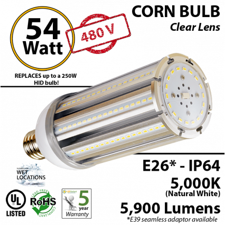 54 Watt LED 300w Halogen Replacement 5900Lm  480V