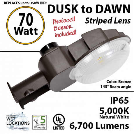 70w LED Dusk to dawn light 6700 Lumens 5000K natural white bronze