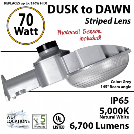 70w LED Dusk to dawn light 6700 Lumens 5000K natural white
