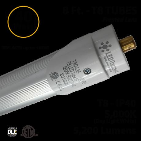 8Ft LED light 40 Watt 5200Lm 5000K IP40 Frosted Lens UL DLC