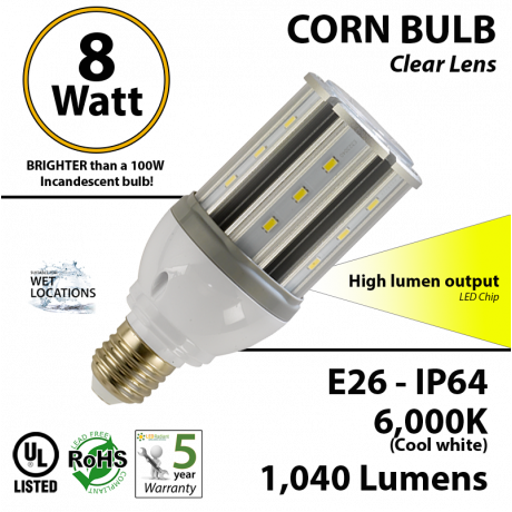 8W LED Corn Bulb Lamp 1040Lm 6000K E26 IP64 UL