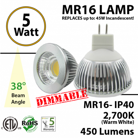 MR16 5W 450Lm 38° Spot COB Clear lens Dimmable 2700K ETL