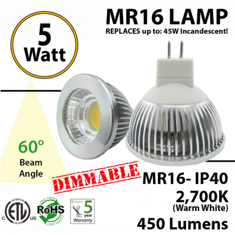 MR16 5W 450Lm Aluminum COB Clear lens Dimmable 2700K ETL 60°