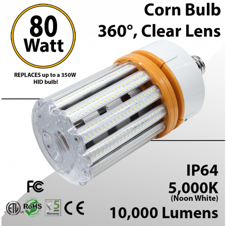 LED Corn Bulb 80W 10000Lm 5000K E26 / E39* IP64 ETL DLC