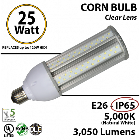 LED Corn Bulb 25 Watt 3000Lm 5000K E26 IP65 UL