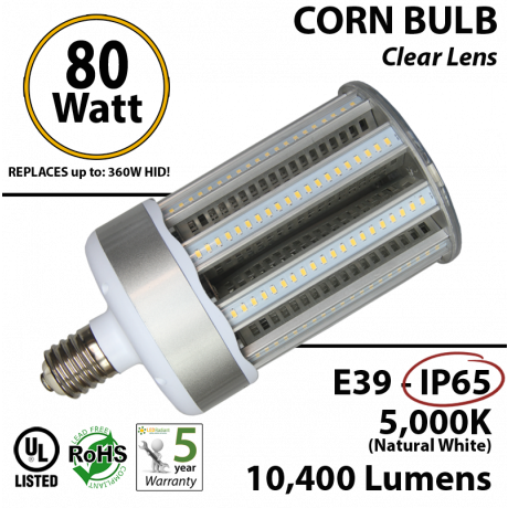 LED Corn Bulb light 80W 10400Lm 5000K IP65