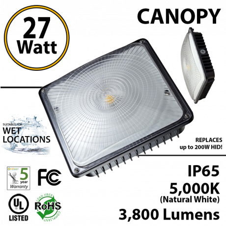 27W LED Canopy Light Ceiling Mount 3800Lm 5000K UL IP65