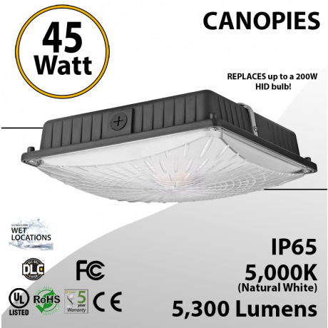45W LED Canopy Light Ceiling Mount 5000K 5300 Lumens UL DLC IP65