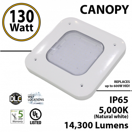130W LED Canopy Light Ceiling Mount 14300 Lm 5000K IP65 UL